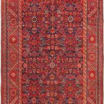 Hand-knotted Hosseinabad Navy, Red Wool Rug 3'5″ x 10'3″