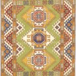 Hand-knotted Royal Kazak Light Brown, Light Green Wool Rug 5'7″ x 7'10""