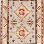 Hand-knotted Royal Kazak Light Gray Wool Rug 5'9″ x 8'0″