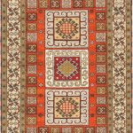 Hand-knotted Royal Kazak Khaki, Orange Wool Rug 4'8″ x 6'7″