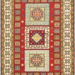 Hand-knotted Royal Kazak Cream, Red Wool Rug 4'8″ x 6'9″ (1)