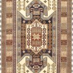 Hand-knotted Royal Kazak Cream, Khaki Wool Rug 5'7″ x 7'10""