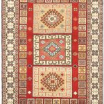 "Hand-knotted Royal Kazak Cream, Red Wool Rug 5'7″ x 7'10"" (1)"