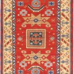 Hand-knotted Royal Kazak Dark Copper Wool Rug 4'9″ x 6'7″