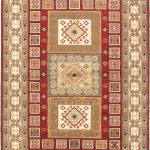 Hand-knotted Royal Kazak Cream, Dark Red Wool Rug 5'9″ x 7'9″