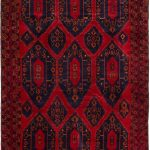 Hand-knotted Royal Baluch Red Wool Rug 7'8″ x 11'5″