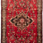 Hand-knotted Hamadan Red Wool Rug 5'4″ x 10'6″