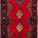 Hand-knotted Koliai Red Wool Rug 5'2″ x 10'6″