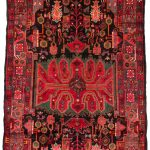 Hand-knotted Nahavand Red Wool Rug 4'8″ x 9'7″