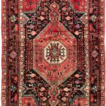 "Hand-knotted Hamadan Red Wool Rug 4'11"" x 10'0″"