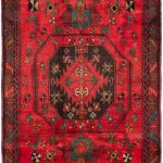Hand-knotted Koliai Red Wool Rug 4'2″ x 9'6″