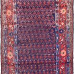 Hand-knotted Arak Navy Wool Rug 3'6″ x 5'7″