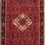 Hand-knotted Hosseinabad Red Wool Rug 4'1″ x 10'8″