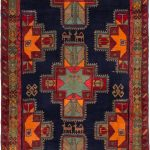 Hand-knotted Ardabil Dark Navy Wool Rug 4'2″ x 8'6″