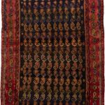 Hand-knotted Malayer Dark Navy, Red Wool Rug 3'9″ x 9'4″