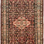 Hand-knotted Hosseinabad Black, Copper Wool Rug 4'3″ x 10'5″