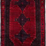 "Hand-knotted Senneh Dark Navy, Red Wool Rug 4'11"" x 9'2″"