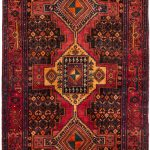 Hand-knotted Senneh Dark Navy, Red Wool Rug 4'0″ x 11'2″