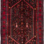 "Hand-knotted Zanjan Black, Red Wool Rug 4'10"" x 13'3″"