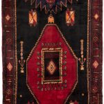 "Hand-knotted Zanjan Black, Red Wool Rug 4'11"" x 12'2″"