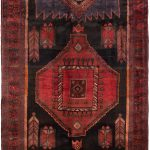 "Hand-knotted Zanjan Black, Red Wool Rug 4'11"" x 11'0″"