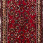 Hand-knotted Hamadan Red Wool Rug 5'6″ x 11'10""