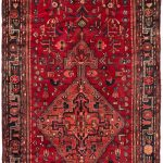 Hand-knotted Hamadan Red Wool Rug 5'1″ x 14'3″