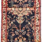 Hand-knotted Hamadan Navy, Red Wool Rug 3'3″ x 7'2″