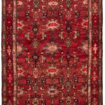 Hand-knotted Hamadan Red Wool Rug 3'5″ x 11'11""
