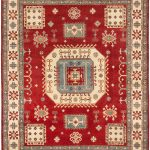 "Hand-knotted Finest Gazni Dark Red Wool Rug 7'10"" x 9'11"""