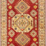"Hand-knotted Finest Gazni Red Wool Rug 4'11"" x 6'8″"