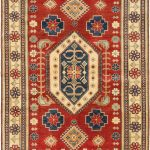 Hand-knotted Finest Gazni Red Wool Rug 6'1″ x 9'0″