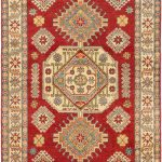 "Hand-knotted Finest Gazni Red Wool Rug 4'10"" x 6'7″"
