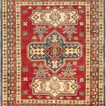 "Hand-knotted Finest Gazni Dark Red Wool Rug 3'10"" x 4'8″"
