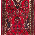 Hand-knotted Hamadan Red Wool Rug 3'7″ x 18'6″