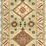 Hand-knotted Royal Kazak Light Green Wool Rug 2'2″ x 6'7″