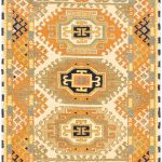 Hand-knotted Royal Kazak Copper, Cream Wool Rug 3'1″ x 5'0″