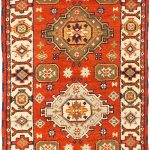 Hand-knotted Royal Kazak Light Red Wool Rug 2'9″ x 9'10""