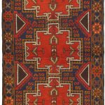 Hand-knotted Kazak Orange Wool Rug 3'6″ x 6'2″