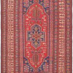 """Hand woven Nomad Red Wool Sumak 4'9″ x 7'10"""""""