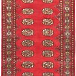 Hand-knotted Finest Peshawar Bokhara Red Wool Rug 3'1″ x 5'2″ (1)
