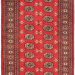 Hand-knotted Finest Peshawar Bokhara Red Wool Rug 3'0″ x 5'1″ (1)