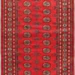 Hand-knotted Finest Peshawar Bokhara Red Wool Rug 4'2″ x 6'5″ (1)