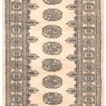 Hand-knotted Finest Peshawar Bokhara Cream Wool Rug 2'7″ x 11'10""