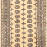 Hand-knotted Finest Peshawar Bokhara Gray Wool Rug 4'2″ x 5'11""