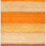 """Hand-knotted Indian Gabbeh Orange Wool Rug 4'2″ x 5'10"""""""