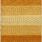 Hand-knotted Indian Gabbeh Yellow Wool Rug 3'1″ x 5'3″