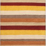 Hand-knotted Indian Gabbeh Yellow Wool Rug 4'7″ x 6'8″