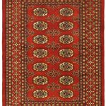 Hand-knotted Finest Peshawar Bokhara Red Wool Rug 3'0″ x 4'3″