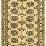 Hand-knotted Finest Peshawar Bokhara Cream Wool Rug 2'7″ x 11'8″